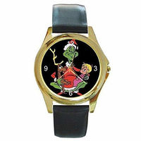 Christmas Grinch, Max and Cindy Lou Ho on a Womens Gold Tone Watch with Leather Band . Ships from Indiana $32.00