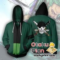 One Piece Roronoa Zoro Zip Up Hoodie Jacket $34.99