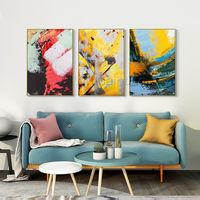 Set of 3 Wall Art framed painting mustard yellow blue sea wave painting 3 pieces wall art Abstract acrylic paintings on canvas original art $163.53