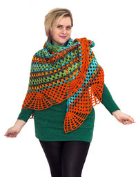 Rainbow crochet shawl as knit gift, oversized knitted clothes for women $51.00