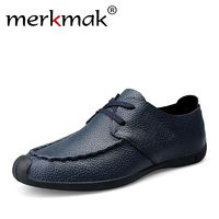 Merkmak Genuine Leather Men Shoes Autumn Male Casual Shoes New Fashion Leather Shoes Loafers Men's shoes Flats zapatillas £61.98