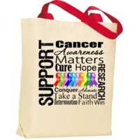 Support Cancer Awareness Red Handle Tote Bag