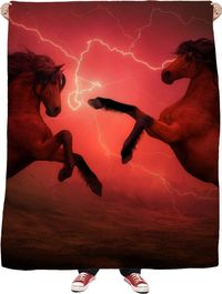ROFB Red Horses Fleece Blanket $65.00