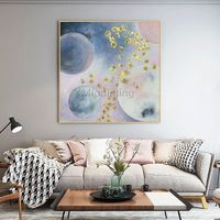 Gold art Acrylic painting canvas art moon Original art extra large pink painting modern abstract painting framed wall art cuadros abstractos $129.00