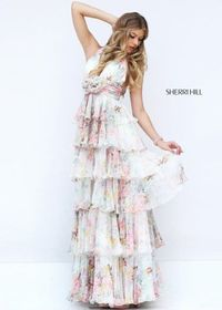 2016 Sherri Hill 50273 Layered Floral Print Evening Gown