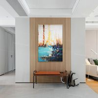 Abstract painting Teal blue Painting acrylic original seascape paintings on canvas Wall Pictures extra large palette knife framed wall art $123.75