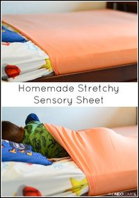 Tutorial for making homemade DIY stretchy lycra sensory sheets for kids with autism or sensory processing disorder