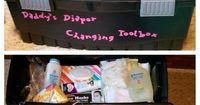 Daddy's Diaper Changing Toolbox! I saw this idea online and decided to make my own version full of practical stuff and gag gifts to give to the new dad-to-be. Ingredients include: diapers, rubber ducky, baby wipes, safety goggles, rubber gloves, baby ...