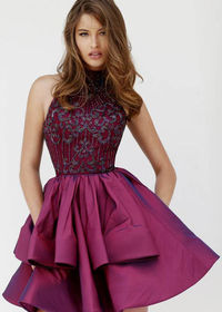 Plum Halter High Neck Beaded Bodice Tiered A Line Party Dress For Prom
