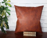 Fast shipping/Terra-cotta old look pattern-back side brown linen look fabric pillow cover/scandinavian home decor/housewarming gift-1pc $16.00