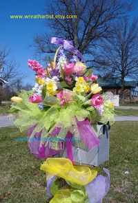 Easter deco mesh mailbox swag....