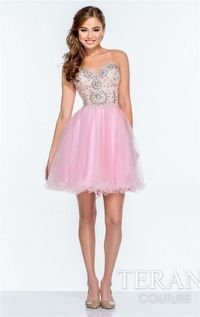 Pink Beaded Short Prom Dresses 151p0006 Terani Couture