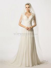 FLORAL CAP SLEEVED CHIFFON A LINE WEDDING DRESS WITH KEYHOLE BACK