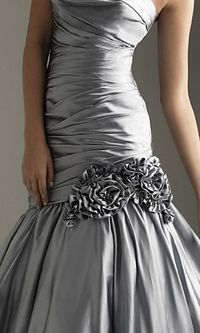 Silver grey gown with silk flowers - beautiful bridesmaid dress!