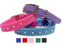 Bling Kitten Cat Safety Collars with Bell | Safety Stretch with Swarovski Crystal Rhinestones, Breakaway Kitten Collars $19.99