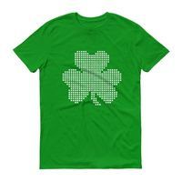 Pixelated shamrock 3 leaf clover shirt Men's St Patrick's Day tshirt $24.00