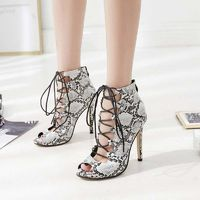 Snakeskin Print Lace-Up Front Open Toe Heels at www.fashionsqueen.com