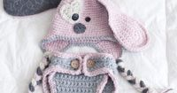 Puppy Hat And Diaper Cover Set- Baby Girl- Newborn Photo Prop- Crochet- Gift- Baby- Dog Hat on Luulla by jane77