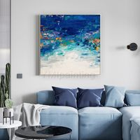 Modern art Abstract Original art white and blue painting acrylic paintings on canvas Wall pictures cuadros abstractos framed wall art $109.00