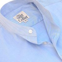 Blue Herringbone 2 Ply Mandarin Collar Shirt �'�1599.00