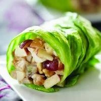 Yummy! Chopped apples, grapes, chicken, and sliced almonds with a splash of any dressing.