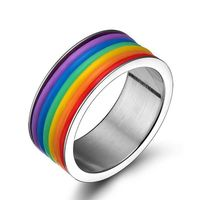 LGBT Gay Pride Stainless Steel Rainbow Ring. $9.99.jpg