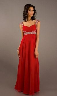 Red Square Neck Long Sequin Cap Sleeve Dress Sale