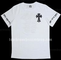 Black Leather Horseshoes White Chrome Hearts T-shirt