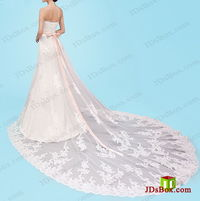 H1450 Romantic soft tulle lace wedding dress with big train