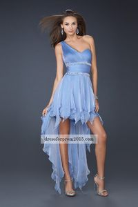 High Low Periwinkle Pleated Prom Dresses For Sale