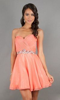 Strapless Pink Short Pleated A-line Homecoming Dress