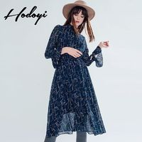 Vogue Printed Flare Sleeves High Neck Chiffon Winter Dress - Bonny YZOZO Boutique Store