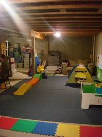 Great example of turning an unfinished basement into a playroom virtually no cost.