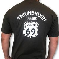 """THIGHBRUSH® BIKERS - """"ROUTE 69"""" - Men's T-Shirt - Charcoal Grey and White"""