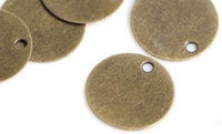 Pack of 50 Bronze Discs. 10mm Stamping Circle Tags. Engraving Charms and Pendants. £6.99
