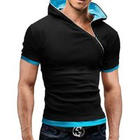Zipper design hooded man t-shirt Fitness tshirt homme men clothing 6 colors £17.87