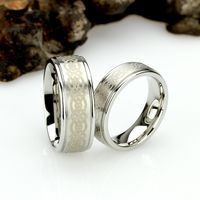 His And Hers Stainless Steel Wedding Band Set, 8mm, 6mm, Celtic Knot Ring, Stainless Steel Promise Ring Set, Steel Ring For Couple $71.00
