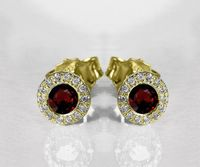 Ruby Studs Halo Earrings surrounded with Diamonds Birthday Gift Minimalist Earrings Sunflowers Earrings 14K or 18K White gold $885.00