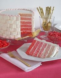 Pink Ombre Valentine's Day cake by Eddie Ross