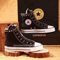 New Style Chrome Hearts Black Rivets and Crosses High Shoes By Canvas