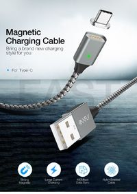 RAXFLY 2.1A Magnetic Braided Type C Fast Charging Data Cable 1M For Oneplus 6 5t Xiaomi Mi8 Mix 2s