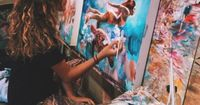I am just in awe of this young ladies mixed media oil paintings! Dimitra has been painting since the age of 15 months old and became a professional artist at th