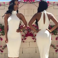 Bear Shoulder Open Back Bodycon Pencil Knee-length Dress kr21.99
