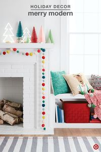 Playful, bright colors and whimsical design add a merry touch to your holiday decorating. Create the merriest mantel with loads of festive colors and modern décor. Mix a variety of textures and finishes for a uniquely festive look. Pom pom garland, bottl...