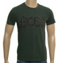 Boss Hugo Boss Bottle Green T-Shirt with Purple Logo (Orange label). Large purple and black logo across chest. Purple stitching detail to seams. Straight bottom hem. Lightweight material. Material - !!!! http://www.comparestoreprices.co.uk//boss-h...