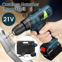 21V Li-ion Rechargeable Battery Cordless Power Impact Drill Electric Screwdriver