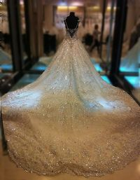 Holy wow---Amazing 2013 Gorgeous A Line Straps Cathedral Train Beading Sequin Organza Bridal Wedding Dresses WAL07278-C