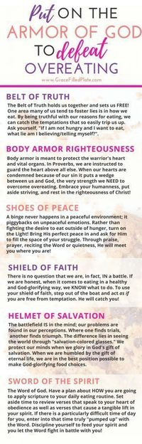 As a Christian, how do you fight overeating? The Bible tells us about the tools of the Armor of God. Learn how to use the armor TODAY in practical ways!