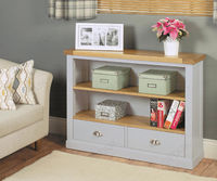 Baumhaus Chadwick Grey Painted Low Bookcase with Two Drawers