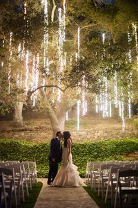 The hanging string lights make you feel like you're in an enchanted forest
